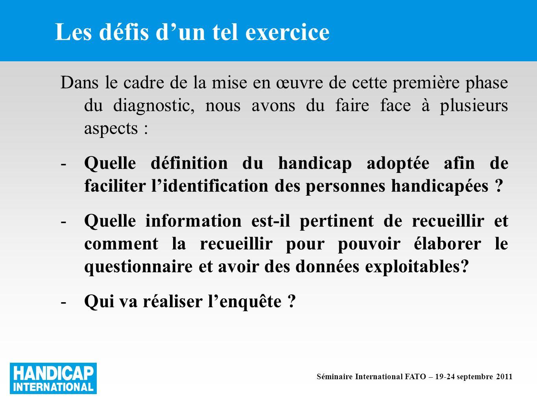 Les défis dun tel exercice Dans le cadre de la mise en œuvre de cette première phase du diagnostic, nous avons du faire face à plusieurs aspects : -Quelle définition du handicap adoptée afin de faciliter lidentification des personnes handicapées .