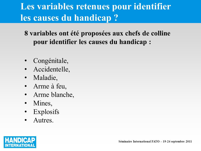 Les variables retenues pour identifier les causes du handicap .