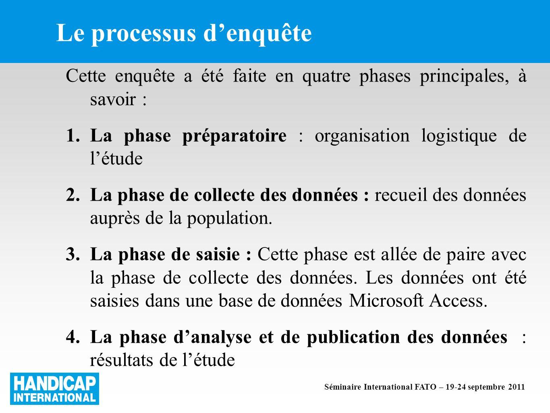 Le processus denquête Cette enquête a été faite en quatre phases principales, à savoir : 1.La phase préparatoire : organisation logistique de létude 2.La phase de collecte des données : recueil des données auprès de la population.