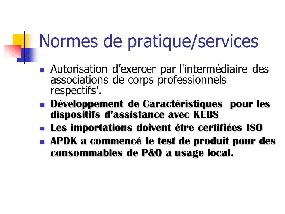 Normes de pratique/services Autorisation dexercer par l'intermédiaire des associations de corps professionnels respectifs'. Développement de Caractéri