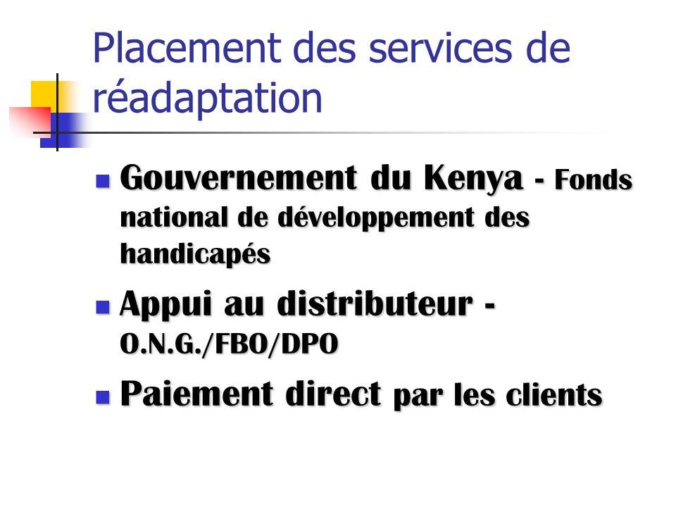 Placement des services de réadaptation Gouvernement du Kenya - Fonds national de développement des handicapés Gouvernement du Kenya - Fonds national d