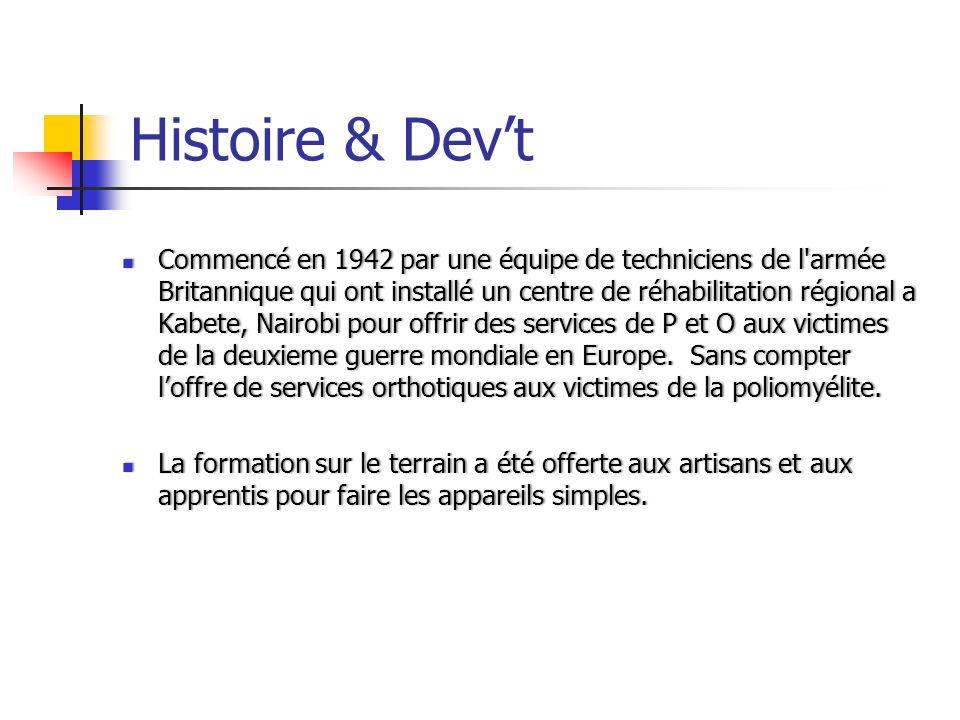 Histoire & Devt Commencé en 1942 par une équipe de techniciens de l'armée Britannique qui ont installé un centre de réhabilitation régional a Kabete,