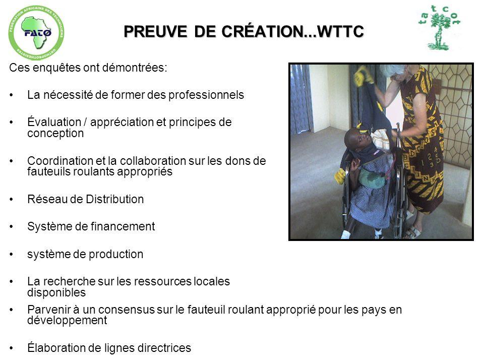 PREUVE DE CRÉATION...WTTC Ces enquêtes ont démontrées: La nécessité de former des professionnels Évaluation / appréciation et principes de conception
