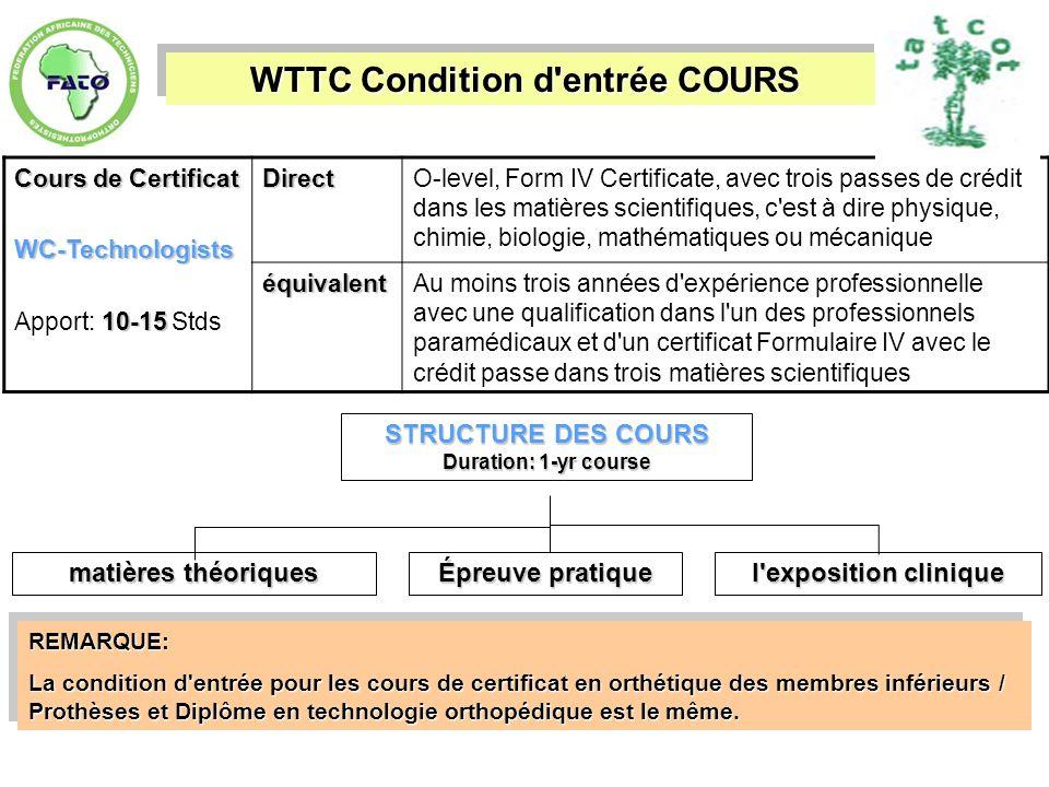 WTTC Condition d'entrée COURS Cours de Certificat WC-Technologists 10-15 Apport: 10-15 StdsDirectO-level, Form IV Certificate, avec trois passes de cr