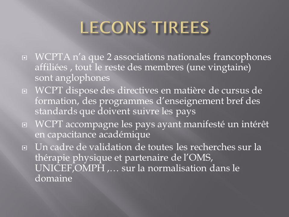 WCPTA na que 2 associations nationales francophones affiliées, tout le reste des membres (une vingtaine) sont anglophones WCPT dispose des directives