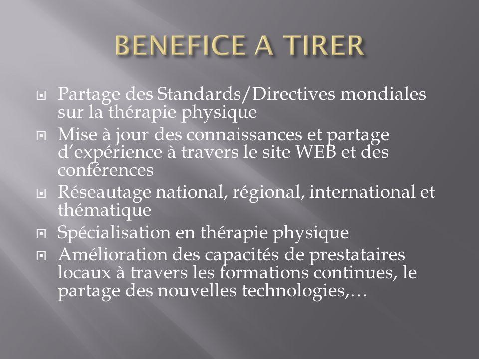 Partage des Standards/Directives mondiales sur la thérapie physique Mise à jour des connaissances et partage dexpérience à travers le site WEB et des
