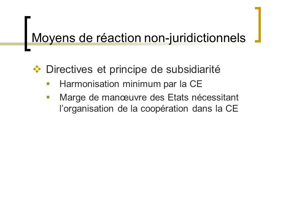 Moyens de réaction non-juridictionnels Directives et principe de subsidiarité Harmonisation minimum par la CE Marge de manœuvre des Etats nécessitant lorganisation de la coopération dans la CE