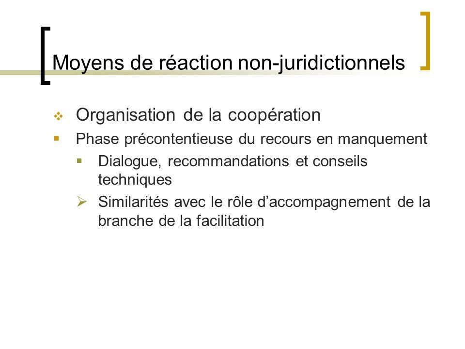 Moyens de réaction non-juridictionnels Organisation de la coopération Phase précontentieuse du recours en manquement Dialogue, recommandations et conseils techniques Similarités avec le rôle daccompagnement de la branche de la facilitation