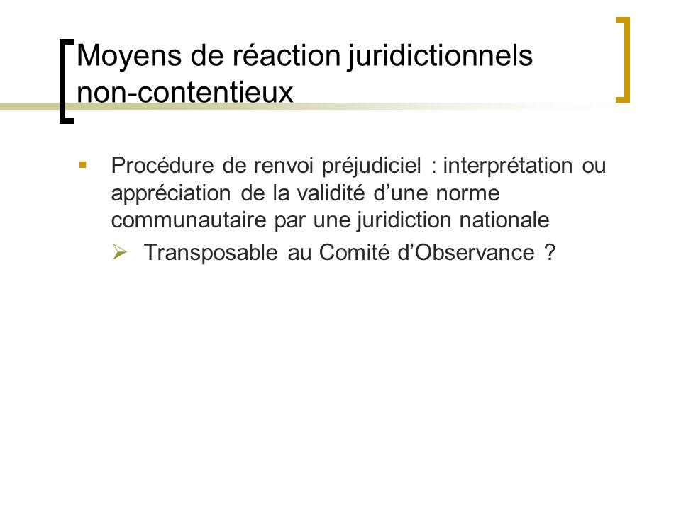 Moyens de réaction juridictionnels non-contentieux Procédure de renvoi préjudiciel : interprétation ou appréciation de la validité dune norme communautaire par une juridiction nationale Transposable au Comité dObservance