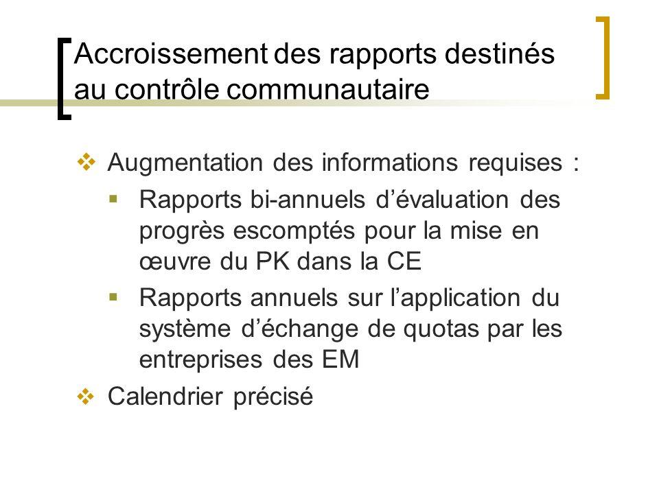 Accroissement des rapports destinés au contrôle communautaire Augmentation des informations requises : Rapports bi-annuels dévaluation des progrès escomptés pour la mise en œuvre du PK dans la CE Rapports annuels sur lapplication du système déchange de quotas par les entreprises des EM Calendrier précisé