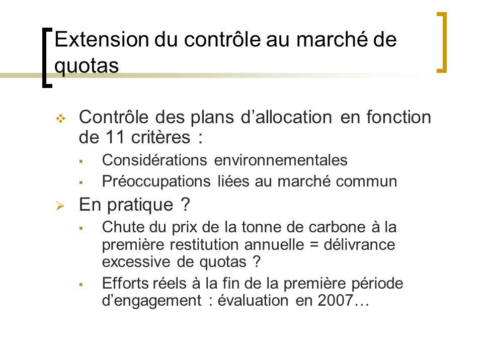 Extension du contrôle au marché de quotas Contrôle des plans dallocation en fonction de 11 critères : Considérations environnementales Préoccupations liées au marché commun En pratique .