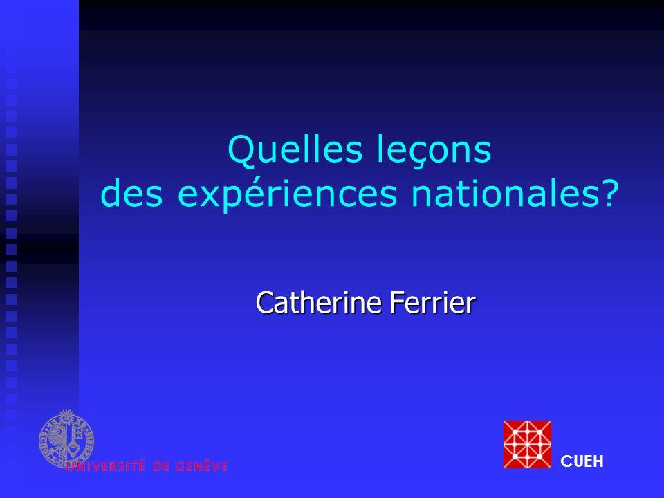 Quelles leçons des expériences nationales? Catherine Ferrier CUEH