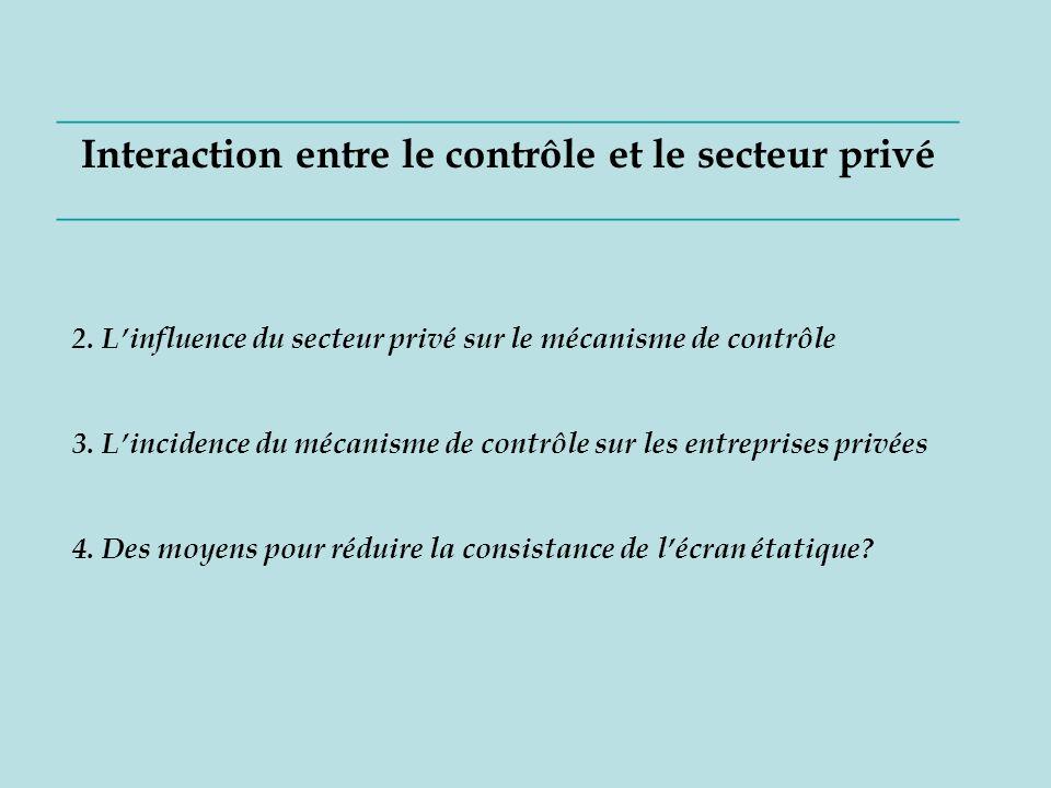 ____________________________________________ Interaction entre le contrôle et le secteur privé ____________________________________________ 2.