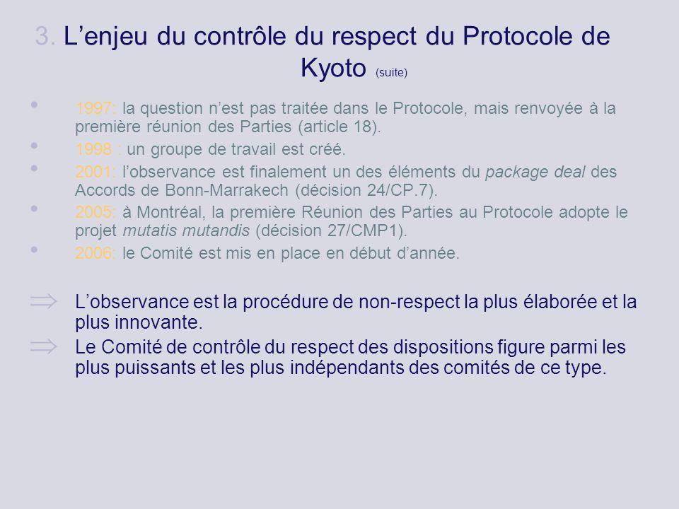3. Lenjeu du contrôle du respect du Protocole de Kyoto (suite) 1997: la question nest pas traitée dans le Protocole, mais renvoyée à la première réuni