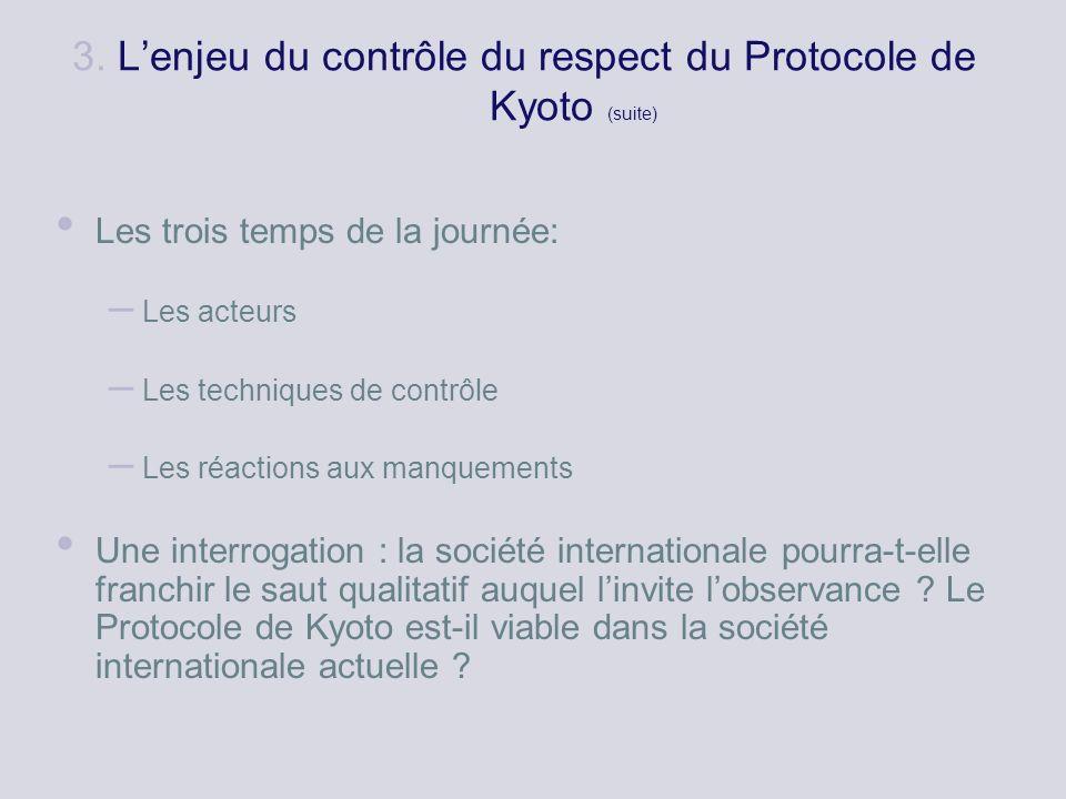 3. Lenjeu du contrôle du respect du Protocole de Kyoto (suite) Les trois temps de la journée: – Les acteurs – Les techniques de contrôle – Les réactio