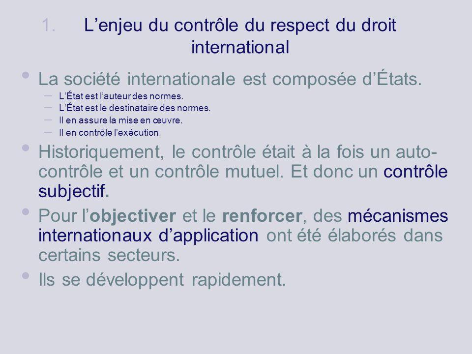 1. Lenjeu du contrôle du respect du droit international La société internationale est composée dÉtats. – LÉtat est lauteur des normes. – LÉtat est le