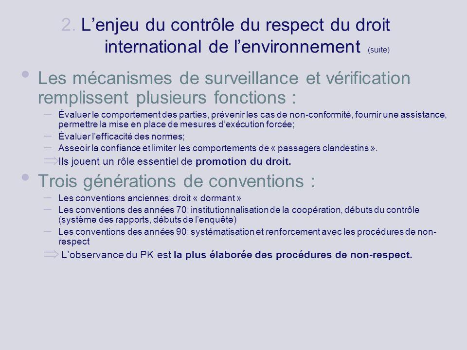 2. Lenjeu du contrôle du respect du droit international de lenvironnement (suite) Les mécanismes de surveillance et vérification remplissent plusieurs