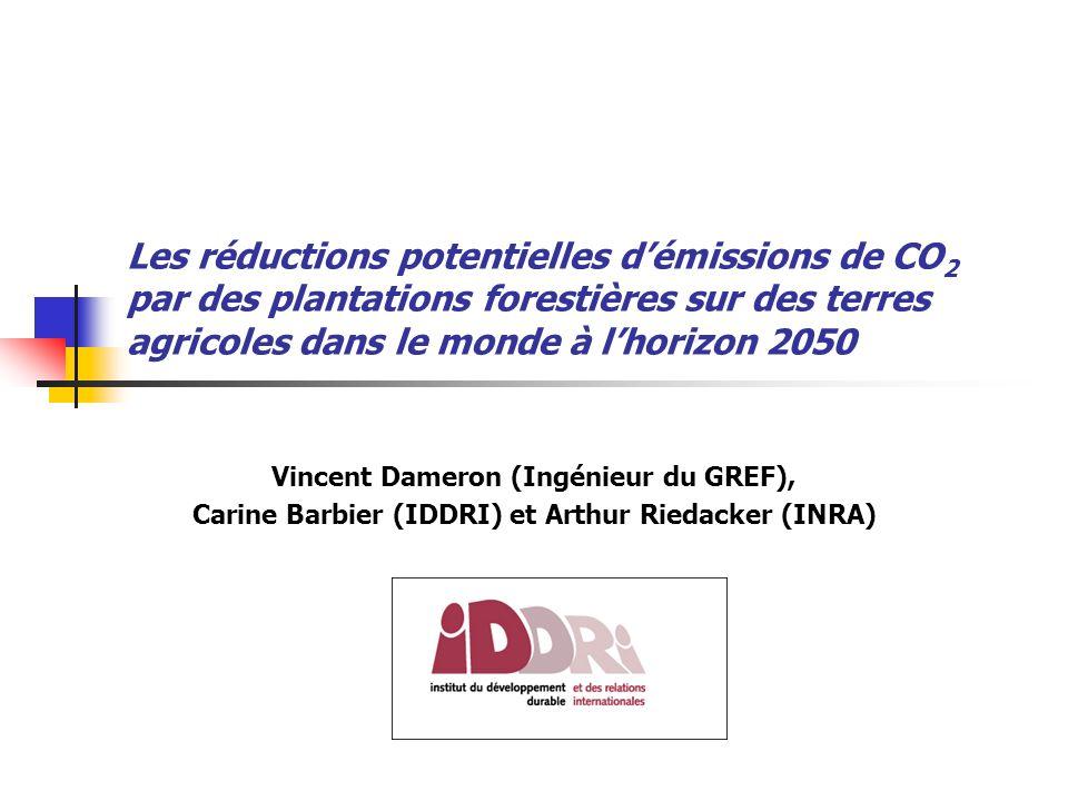 Les réductions potentielles démissions de CO 2 par des plantations forestières sur des terres agricoles dans le monde à lhorizon 2050 Vincent Dameron (Ingénieur du GREF), Carine Barbier (IDDRI) et Arthur Riedacker (INRA)