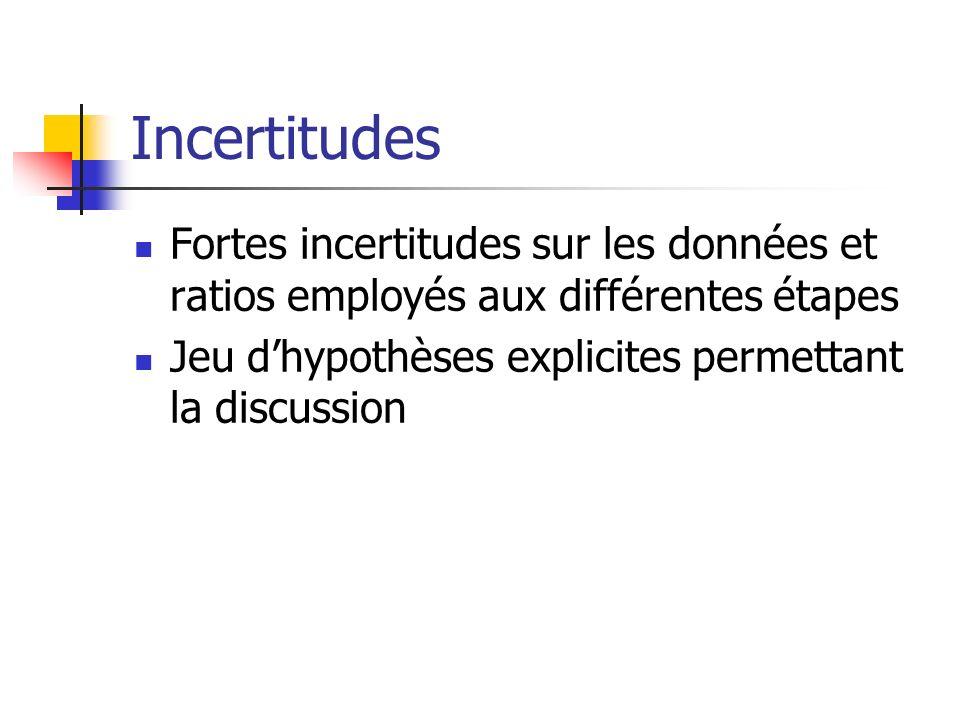 Incertitudes Fortes incertitudes sur les données et ratios employés aux différentes étapes Jeu dhypothèses explicites permettant la discussion