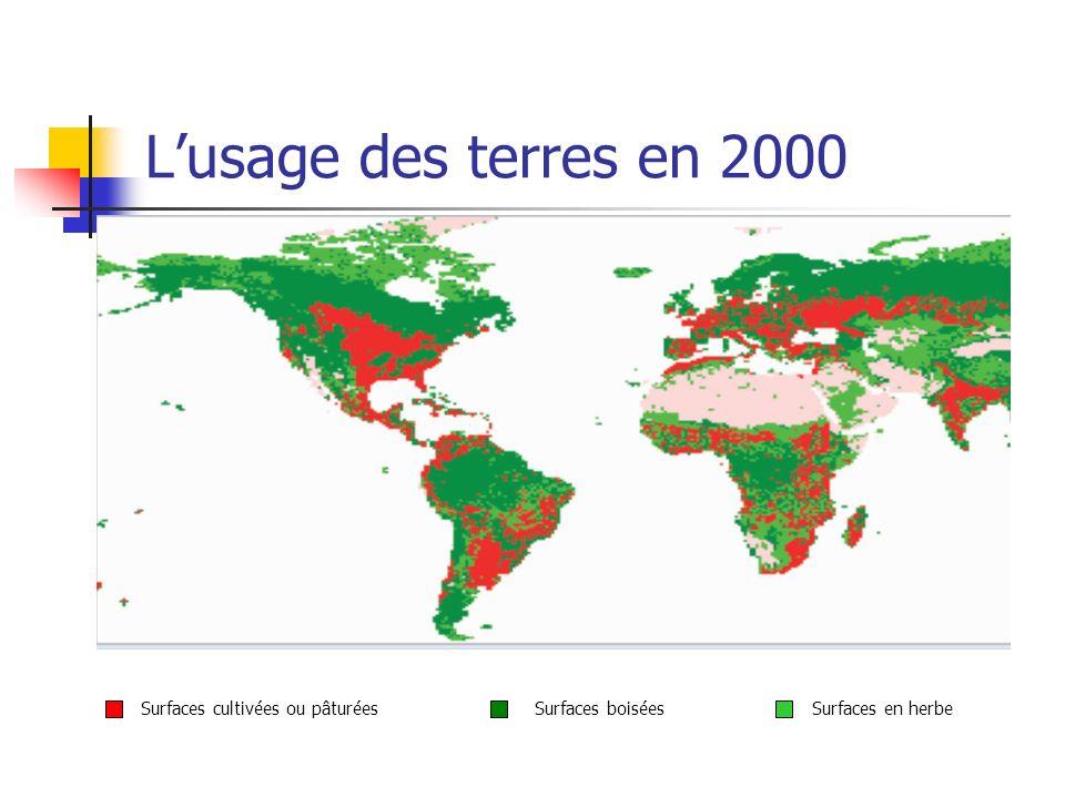 Lusage des terres en 2000 Surfaces cultivées ou pâturéesSurfaces boiséesSurfaces en herbe