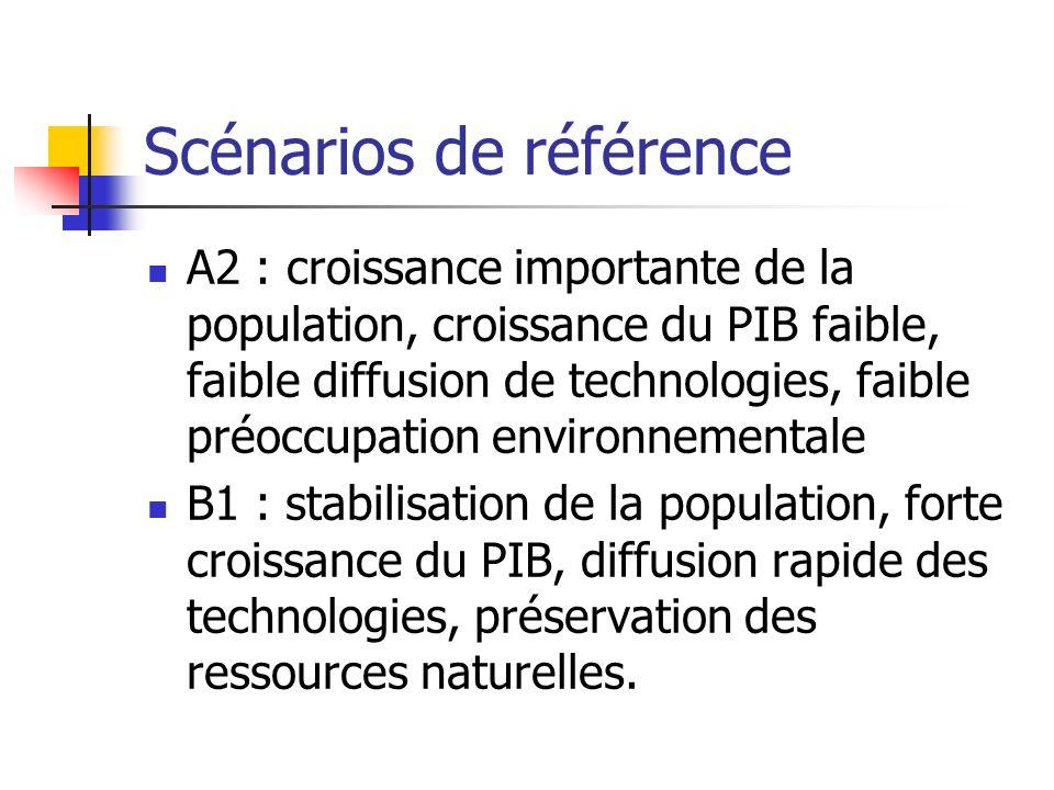Scénarios de référence A2 : croissance importante de la population, croissance du PIB faible, faible diffusion de technologies, faible préoccupation environnementale B1 : stabilisation de la population, forte croissance du PIB, diffusion rapide des technologies, préservation des ressources naturelles.