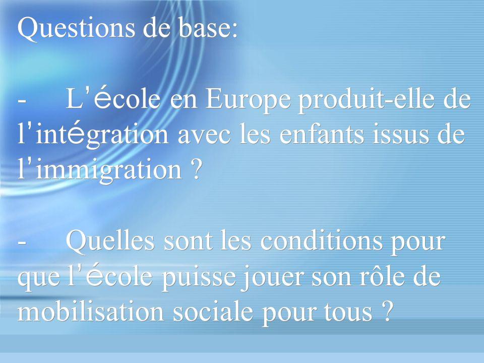 Questions de base: -L é cole en Europe produit-elle de l int é gration avec les enfants issus de l immigration .