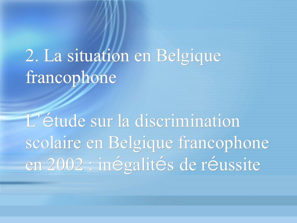 2. La situation en Belgique francophone L é tude sur la discrimination scolaire en Belgique francophone en 2002 : in é galit é s de r é ussite