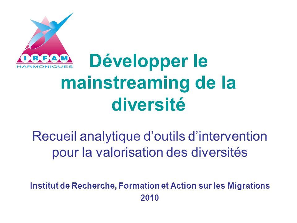 Développer le mainstreaming de la diversité Recueil analytique doutils dintervention pour la valorisation des diversités Institut de Recherche, Format