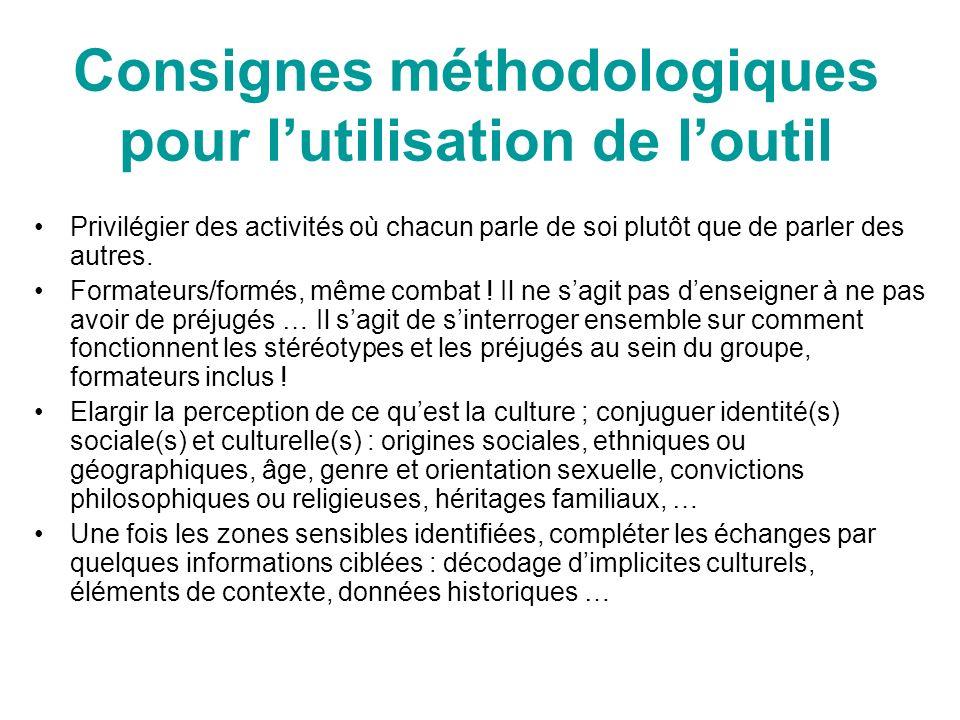Consignes méthodologiques pour lutilisation de loutil Privilégier des activités où chacun parle de soi plutôt que de parler des autres. Formateurs/for