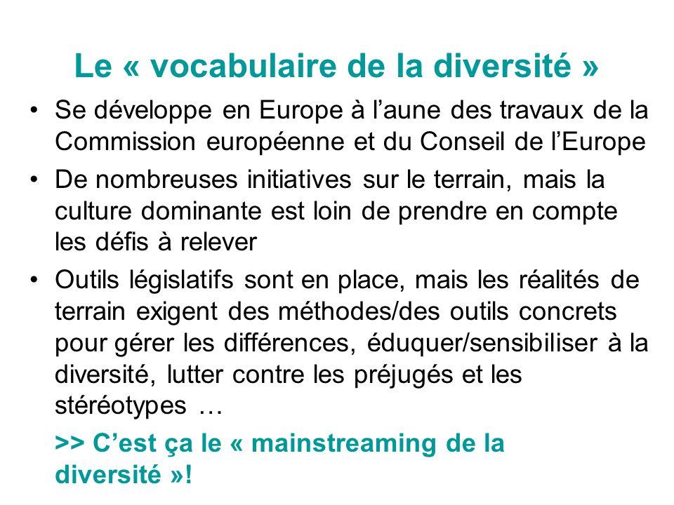 Le « vocabulaire de la diversité » Se développe en Europe à laune des travaux de la Commission européenne et du Conseil de lEurope De nombreuses initi