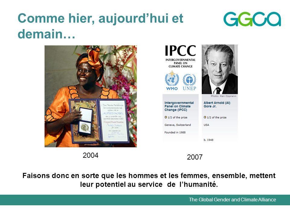 The Global Gender and Climate Alliance Comme hier, aujourdhui et demain… 2004 2007 Faisons donc en sorte que les hommes et les femmes, ensemble, mettent leur potentiel au service de lhumanité.