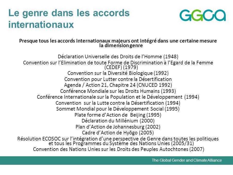 The Global Gender and Climate Alliance Le genre dans les accords internationaux Presque tous les accords internationaux majeurs ont intégré dans une certaine mesure la dimension genre Déclaration Universelle des Droits de lHomme (1948) Convention sur lElimination de toute Forme de Discrimination à lEgard de la Femme (CEDEF) (1979) Convention sur la Diversité Biologique (1992) Convention pour Lutter contre la Désertification Agenda / Action 21, Chapitre 24 (CNUCED 1992) Conférence Mondiale sur les Droits Humains (1993) Conférence Internationale sur la Population et le Développement (1994) Convention sur la Lutte contre la Désertification (1994) Sommet Mondial pour le Développement Social (1995) Plate forme dAction de Beijing (1995) Déclaration du Millénium (2000) Plan dAction de Johannesburg (2002) Cadre dAction de Hyōgo (2005) Résolution ECOSOC sur lintégration dune perspective de Genre dans toutes les politiques et tous les Programmes du Système des Nations Unies (2005/31) Convention des Nations Unies sur les Droits des Peuples Autochtones (2007)