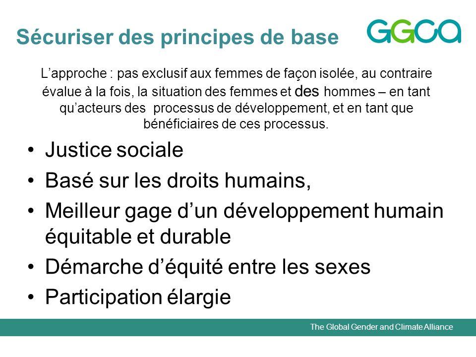 The Global Gender and Climate Alliance Lapproche : pas exclusif aux femmes de façon isolée, au contraire évalue à la fois, la situation des femmes et des hommes – en tant quacteurs des processus de développement, et en tant que bénéficiaires de ces processus.
