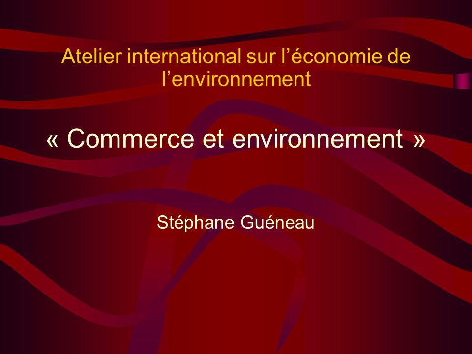 Atelier international sur léconomie de lenvironnement « Commerce et environnement » Stéphane Guéneau