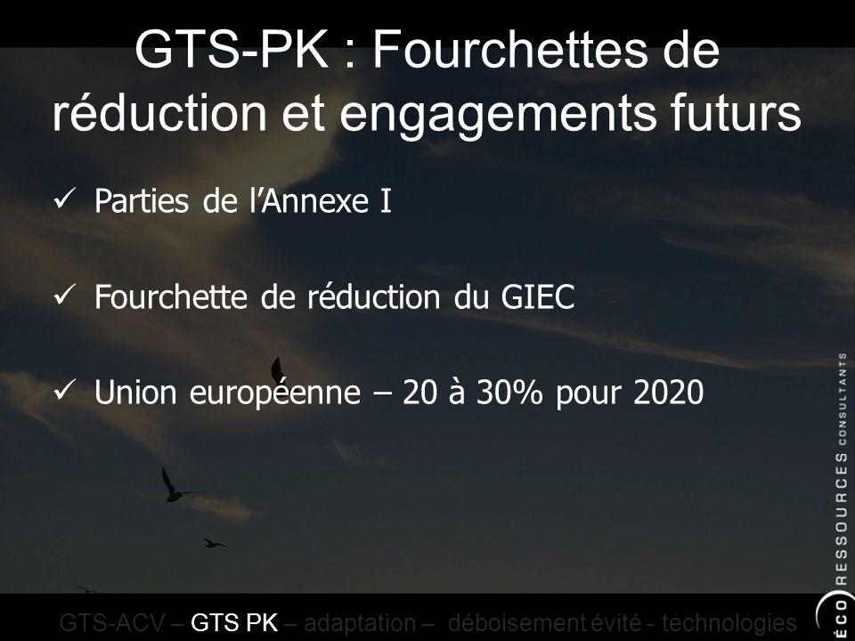 GTS-PK : Fourchettes de réduction et engagements futurs GTS-ACV – GTS PK – adaptation – déboisement évité - technologies Parties de lAnnexe I Fourchette de réduction du GIEC Union européenne – 20 à 30% pour 2020