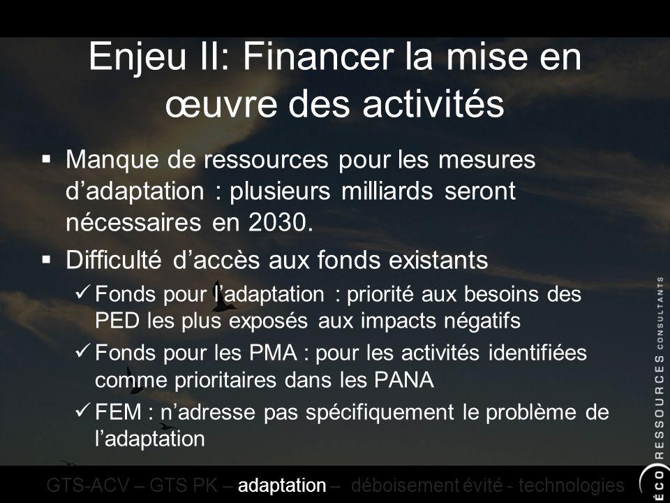 Enjeu II: Financer la mise en œuvre des activités Manque de ressources pour les mesures dadaptation : plusieurs milliards seront nécessaires en 2030.