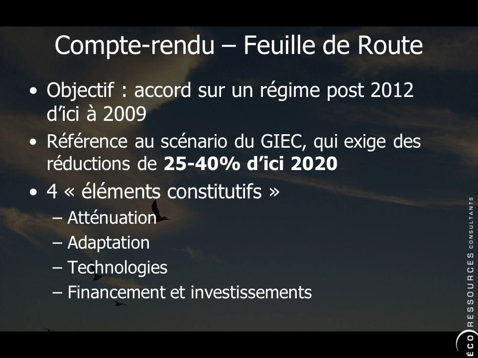 Compte-rendu – Feuille de Route Objectif : accord sur un régime post 2012 dici à 2009 Référence au scénario du GIEC, qui exige des réductions de 25-40% dici 2020 4 « éléments constitutifs » –Atténuation –Adaptation –Technologies –Financement et investissements