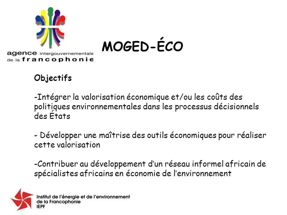 Objectifs -Intégrer la valorisation économique et/ou les coûts des politiques environnementales dans les processus décisionnels des États - Développer une maîtrise des outils économiques pour réaliser cette valorisation -Contribuer au développement dun réseau informel africain de spécialistes africains en économie de lenvironnement MOGED-ÉCO
