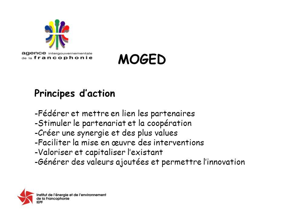 Principes daction -Fédérer et mettre en lien les partenaires -Stimuler le partenariat et la coopération -Créer une synergie et des plus values -Faciliter la mise en œuvre des interventions -Valoriser et capitaliser lexistant -Générer des valeurs ajoutées et permettre linnovation MOGED