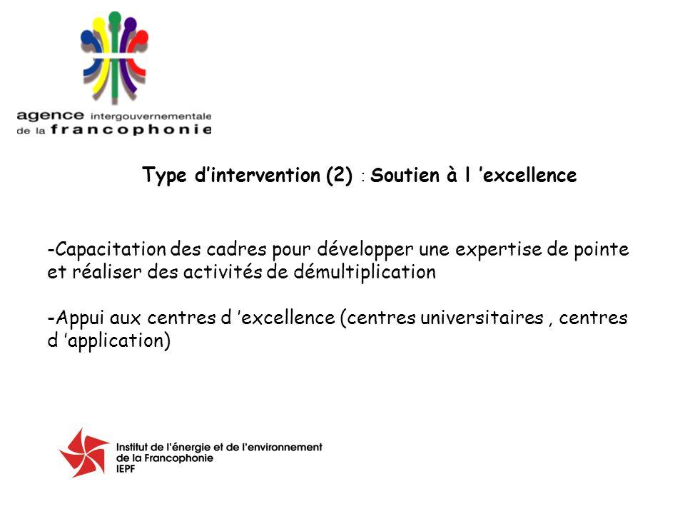Type dintervention (2) : Soutien à l excellence -Capacitation des cadres pour développer une expertise de pointe et réaliser des activités de démultiplication -Appui aux centres d excellence (centres universitaires, centres d application)