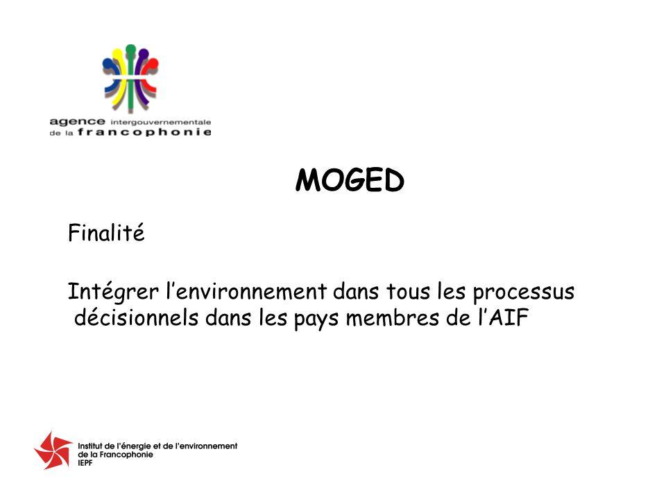 Finalité Intégrer lenvironnement dans tous les processus décisionnels dans les pays membres de lAIF MOGED