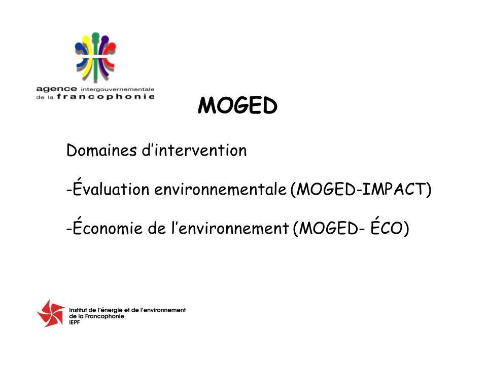 Domaines dintervention -Évaluation environnementale (MOGED-IMPACT) -Économie de lenvironnement (MOGED- ÉCO) MOGED