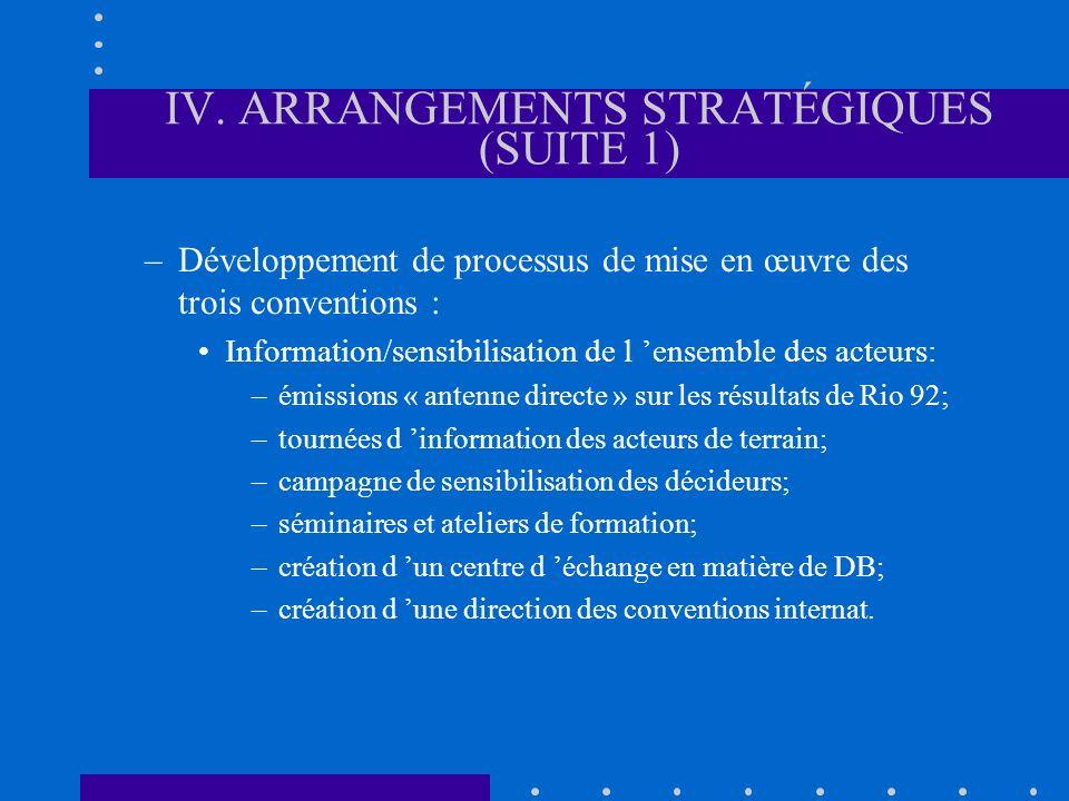 IV. ARRANGEMENTS STRATÉGIQUES (SUITE 1) –Développement de processus de mise en œuvre des trois conventions : Information/sensibilisation de l ensemble