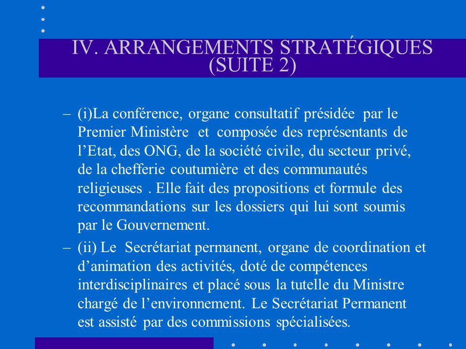 IV. ARRANGEMENTS STRATÉGIQUES (SUITE 2) –(i)La conférence, organe consultatif présidée par le Premier Ministère et composée des représentants de lEtat