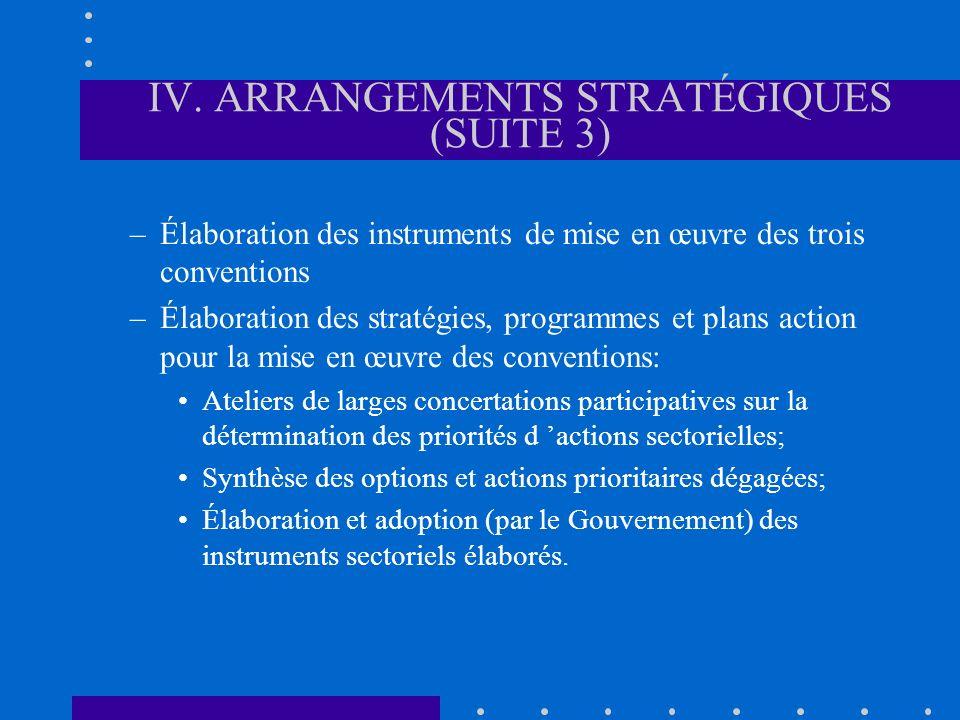 IV. ARRANGEMENTS STRATÉGIQUES (SUITE 3) –Élaboration des instruments de mise en œuvre des trois conventions –Élaboration des stratégies, programmes et