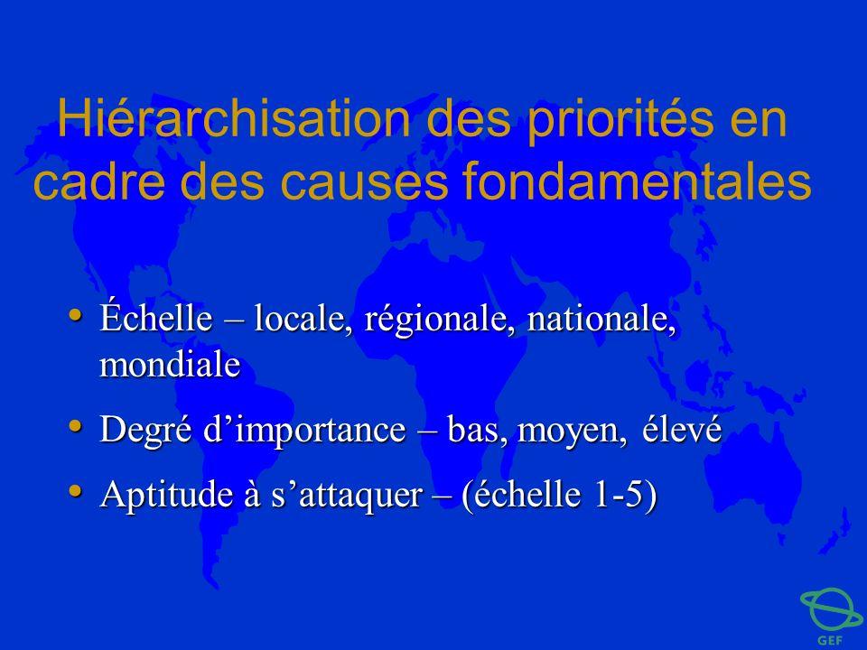 Hiérarchisation des priorités en cadre des causes fondamentales Échelle – locale, régionale, nationale, mondiale Échelle – locale, régionale, national