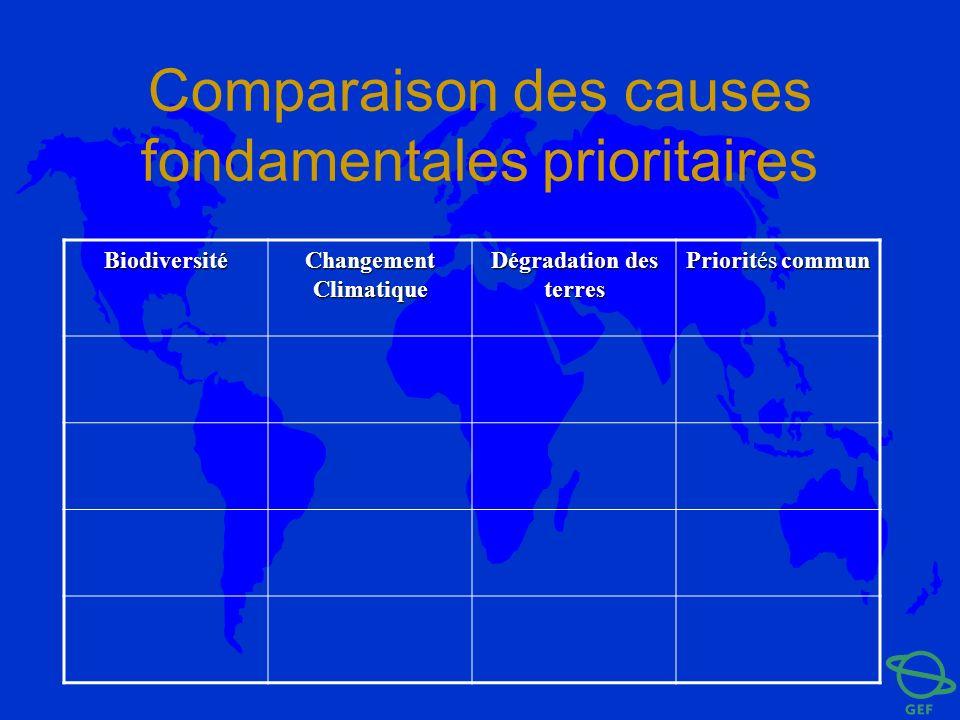 Comparaison des causes fondamentales prioritaires Biodiversité Changement Climatique Dégradation des terres Priorités commun