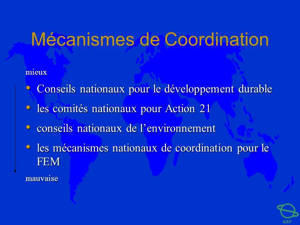 Mécanismes de Coordination mieux Conseils nationaux pour le développement durable Conseils nationaux pour le développement durable les comités nationa
