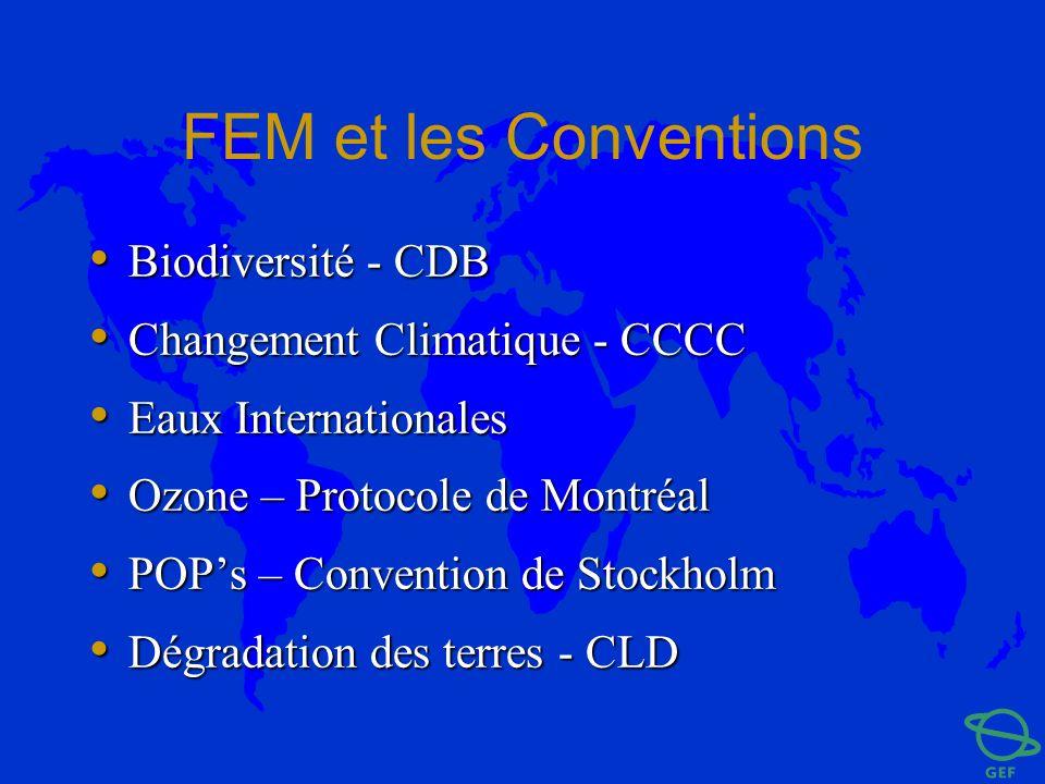 FEM et les Conventions Biodiversité - CDB Biodiversité - CDB Changement Climatique - CCCC Changement Climatique - CCCC Eaux Internationales Eaux Inter