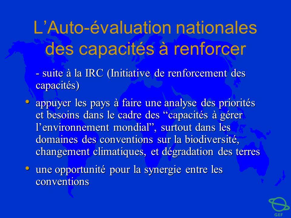 LAuto-évaluation nationales des capacités à renforcer - suite à la IRC (Initiative de renforcement des capacités) appuyer les pays à faire une analyse
